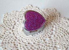Heart Shaped Pink HOLOGRAPHIC Glitter Pill Tin, Valentine's Day Gift, Bling Pill Box, Sparkly Pill Container, Silver Tone Pill Case - 017A