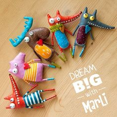 Dream big with MarLi ❤ all these guys you can find in my shop on Etsy Felt Crafts, Fabric Crafts, Diy And Crafts, Crafts For Kids, Sewing Toys, Sewing Crafts, Sewing Projects, Crea Fimo, Sewing Stuffed Animals