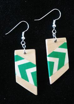 diagonal mambo handmade plywood earrings by handmadebyfive on Etsy, $11.00