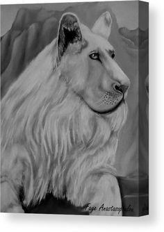 Lion Canvas Print featuring the drawing White Lion by Faye Anastasopoulou Wall Art Prints, Canvas Prints, Lion Drawing, Fine Art Posters, Ocean Scenes, Thing 1, Lion Art, Print Pictures, Artist At Work