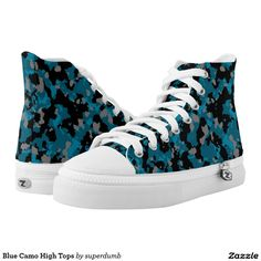 Blue Camo High Tops Printed Shoes you at www.zazzle.com/superdumb