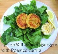 Lemon dill salmon burgers w/roasted garlic Super Healthy Recipes, Raw Food Recipes, Healthy Cooking, Cooking Recipes, Healthy Eats, Wild Rose Detox, Lemon Dill Salmon, Cleanse Detox, Detox Meals