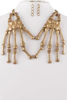 Skeleton Hands Necklace & Earrings Set Antique Gold Skull Bones Chain Fingers Huge Chunky Statement