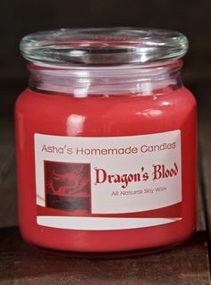 Dragon's Blood Soy Candle | 16 oz. Apothecary Jar | Hand Poured | All Natural Soy Wax | Gift Idea by AshasHomemadeCandles on Etsy