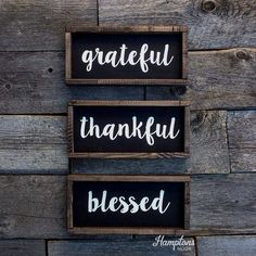 Grateful Thankful Blessed Sign  Wooden Sign  by HamptonsNook