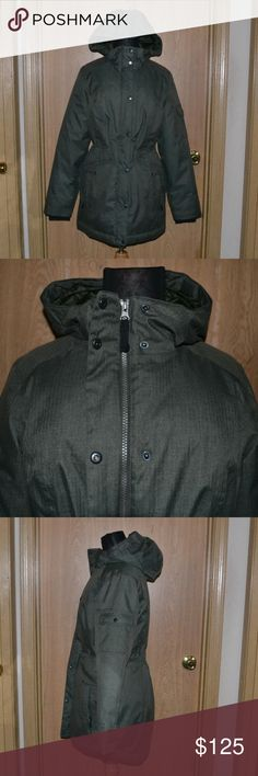 NWOT Eddie Bauer olive green winter jacket I ship Monday - Friday! sometimes Saturday <3 No holds or trades!   A gorgeous olive green jacket with multiple compartments/pockets ( about 6- 1 is hidden inside) In like new condition. Never been used. thick, puffy, comfy & perfect for winter! jacket is a bit heavy!  Size small 100% polyester. Measurements are approximate: Length 31 1/2 in shoulder 15 1/2 in armpit to armpit ( across) 19 1/2 in sleeves 25 in long Eddie Bauer Jackets & Coats