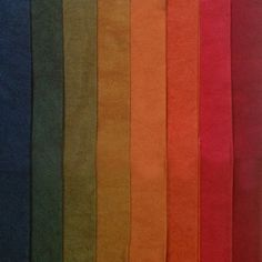 Rich indigo blue, earthy greens, golden bronze, warm red- Eight colors bundled and sold together- Hand Dyed 100% Cotton- Machine washable in Synthrapol- Single colors may be available as Yardage