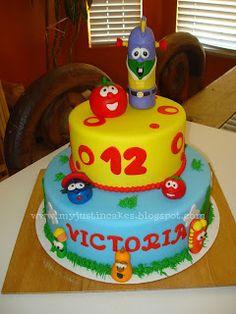Astonishing 31 Best Veggie Tales Cakes Images Veggie Tales Cake Veggie Personalised Birthday Cards Veneteletsinfo