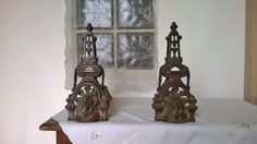 French firedogs, antique fireplace, decorative cast iron, gothic home decor, 1800s, ornate andrions, French country