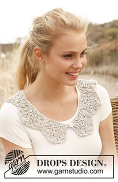 Crochet DROPS collar with pentagons in Cotton Viscose. Free pattern by DROPS Design.