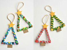 weihnachten basteln kinder tannenbäume eisstiele baumschmuck