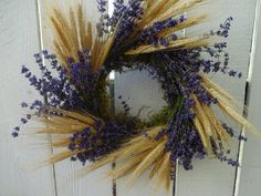 Purple Wreath, Lavender Wreath, White Wreath, Wheat Decorations, Lavender Crafts, Autumn Wreaths For Front Door, Indoor Wreath, Deco Wreaths, Natural