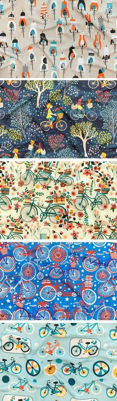 Announcing the Cycling Design Challenge Winners - Did you know May 18 is the official Bike to Work day? To celebrate, we're kicking off this week'sCycling Design Challenge with a perfectly pleasant ride into town for a burst of springtime blooms. Join us in recognizing the cheerful work of grand prize winnersarah_treu, who willbe receiving a $200 Spoonflower credit for her design. #bike #cycling #bicycle #design #surfacedesign #illustration #create #creative #contest #designer…