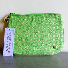 STEPHANIE JOHNSON POUCH Medium flat pouch in Maubai Lime. Perfect for storing and organizing you essentials discreetly.  I appreciate your offers, no lowballing please. Stephanie Johnson Bags Cosmetic Bags & Cases