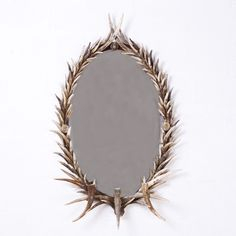 European Deer Antler Wall Mirror Featuring Candle Holders