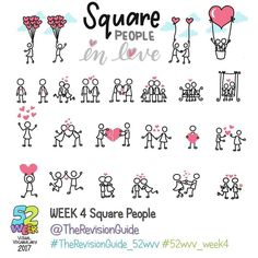 Week 4 - Square People in love.. #TheRevisionGuide_52wvv  #52wvv_week4 . . You can join the challenge at anytime and catch up if you like. You can always add to previous weeks hashtags too, just use the relevant week's tag. . . . ******** . . Join in if you would like to improve your visual vocabulary and doodles for visual notes, graphic recording, graphic fascilitation or just because  . . . . Here's how it would work: Throughout the week, use the theme for the week to post your own set...