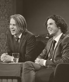 Ylvis brothers. @Kimberly Peterson Peterson Stearns @Christina Childress & Stearns Love that they're always laughing.