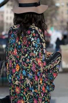 Printed floral silk jacket--This pattern is so beautiful I need to find More if these