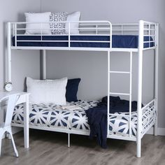 Elegance and function combine to give this Twin over Twin Sturdy Steel Metal Bunk Bed in White Finish a striking appearance. The design gives a stylish modern look crafted with durable steel framin. Modern Bunk Beds, Metal Bunk Beds, Bunk Beds With Stairs, Modern Bedding, Luxury Bedding, Two Twin Beds, Twin Bunk Beds, Kids Bunk Beds, Sharing Bed