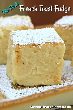 This is the best breakfast fudge that you are going to find because it is actually dessert! French toast fudge is perfect for breakfast, lunch, and dinner! Awesome French Toast Recipe, Best French Toast, Fudge Recipes, Candy Recipes, Maple Fudge, Marinated Salmon, Clean Eating Snacks, Delicious Desserts, The Best