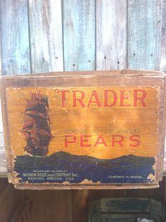 Vintage Antique Wood CrateAdvertisement Trader by MerishcasVintage