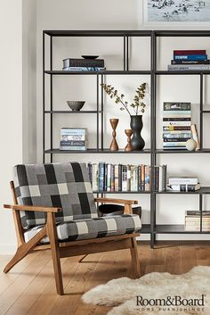 Enjoy the time-tested durability of natural steel and the elegant simplicity of minimal design with our Foshay bookcase. Mid Century Modern Living Room, Living Room Modern, My Living Room, Living Room Furniture, Bookcase In Living Room, Office Furniture, Office Decor, Steel Bookshelf, Modern Bookcase