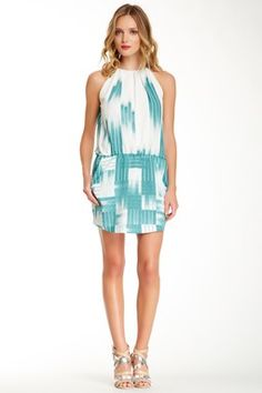 Ali Ro Pleated Print Dress