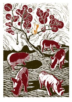 A Herd Of Rhinos Chase Soap-Cat Up A Tree poster-print