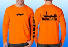 Blaze Orange performance shirt with flats boat in black and logo's on front, back and sleeve,  Made in the USA