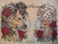Fancy Animals Tattoo Flash Art Print on Etsy, $11.43 AUD