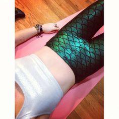 High waist green glitter mermaid leggings. These ones have a larger mermaid scale than the hologram mermaid leggings