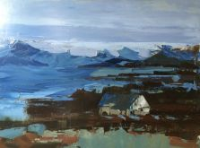 "Selby Fleetwood Gallery || Sandra Pratt ""Aran Islands"" #art #fineart #oilpainting #painting #ireland #landscape #blue #ocean #island"