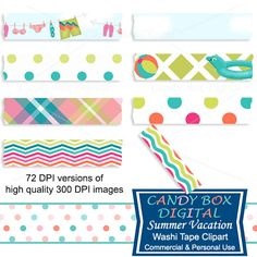 Summer Beach Digital Washi Tape by CandyBoxDigital.  Great for digital scrapbooks and journals, blogs and websites. At our Etsy shop.