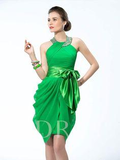 7feb0bcd63749c Halter Neckline Studded Belt Bowknot Short Cocktail Dress