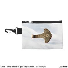 Gold Thor's Hammer golf clip on accessory bag Thor's Hammer Mjolnir, Thors Hammer, Camping Packing, Hammered Gold, Golf Accessories, Golf Shoes, Black Metal, Golf Clubs, Cufflinks