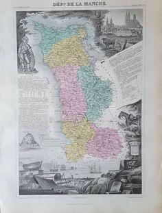 26 Best 1861 Department Maps in France hand coloured V Levasseur