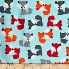 Urban Zoologie Foxes Sky from @fabricdotcom  Designed by Anne Kelle for Kaufman Fabrics, this cotton print is perfect for quilting and craft projects as well as apparel and home décor accents. Colors include black, white, orange, red, aqua and shades of grey.