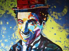 CHARLIE CHAPLIN «Smile» Modern ART Original (Peinture),  122x92x4 cm par…