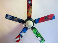 19 Beyond Clever Superhero Room Ideas You'll Want To Steal Swap out ceiling fan blades with these superhero-themed ones. 19 Beyond Clever Superhero Room Ideas You'll Want To Steal, Marvel Bedroom, Boys Superhero Bedroom, Superhero Room Decor, Batman Bedroom, Avengers Room, Marvel Avengers, Avengers Nursery, Marvel Memes, Kids Bedroom