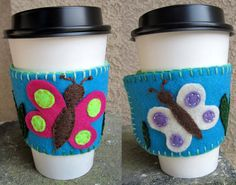 Fluttering Butterflies Reusable Felt Coffeehouse Cup Cuff