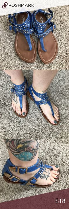 Cute Sandals Cute Sandals with some bling. I bought from another Posher and just don't wear enough blue to keep them in my closet. Price is firm so I can break even. Gently loved Shoes Sandals