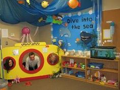 """interactive learning center with a """"Dive into the Sea"""" interactive bulletin board for a grade 2 classrooms. lots of hands-on learning activities. Dramatic Play Area, Dramatic Play Centers, Ocean Activities, Preschool Activities, Water Theme Preschool, Play Corner, Ocean Unit, Under The Sea Theme, Ocean Crafts"""