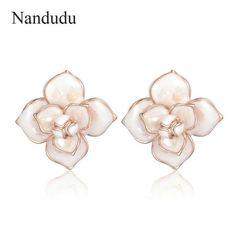 Camellia Earrings Enamel Flower Stud Earring Accessories Woman Girls Elegant Jewelry Gift