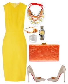"""""""Sunny & Bright"""" by gia-ladyboss on Polyvore featuring Victoria Beckham, Betsey Johnson, Edie Parker, Christian Louboutin, MIANSAI and Rado"""