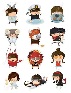 Buy Boys and Girls Dressed Like Signs of Zodiac by moonery on GraphicRiver. Boys and girls dressed like all signs of zodiac. Astrology Aquarius, Astrology Signs, Taurus, Zodiac Signs, Free Vector Art, Kos, Illustrators, Boy Or Girl, Marvel