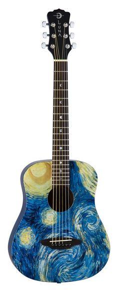 Amazon.com: Luna SAFSTR Safari Starry Night 3/4 Acoustic Guitar: Musical Instruments
