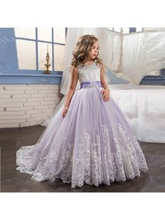 Beaded Lace Tulle Princess Ball Gown Flower Girl Dresses 5501031