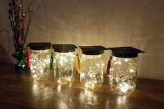 LISTING INCLUDES---4 MASON JARS WITH GRADUATION CAPS *option* to ADD FAIRY LIGHTS ✦✦These can be made to match any SCHOOL COLORS.✦✦ ✦What a unique way to add something special to your graduation party decor! These graduation cap mason jars with fairy lights will get people talking!! They