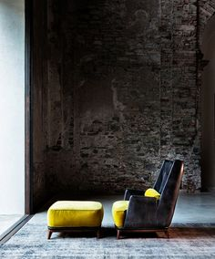 like the contrast of colors and that chair looks uber comfy for reading and drinking wine!