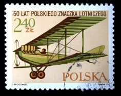 A stamp printed in Poland shows vintage airplane, devoted 50 years of Polish flight sign, circa 1975 Stock Photo